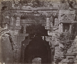 Close view showing details of lintel and mouldings of the Ahar-ki-Darwaza, Chittaurgarh [Chitorgarh]